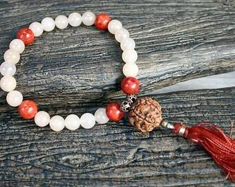 27 Beads Yoga Mala Bracelet Pink Aventurine And Coral
