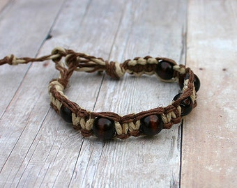 Surfer Macrame Hemp Bracelet Brown and Natural