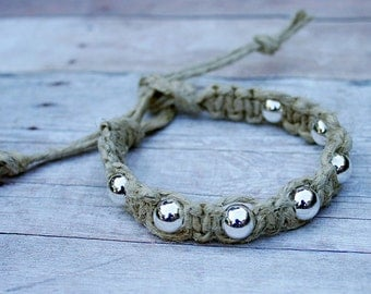 Surfer Macrame Hemp Bracelet  Natural and Metal Beads