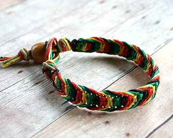 Rasta Colors Hemp Bracelet Black Red Yellow Green Alternating Half Knot