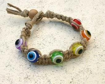 Hemp Flat Bracelet With Rainbow Evil Eye Beads