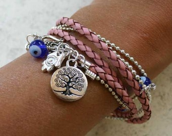 Evil Eye Protection Rose Leather And Chain Bracelet With Tree Of Life And Hamsa