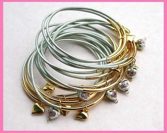 10 Leather Bangles Bracelets Shell Metallic Leather Hearts  - FREE SHIPPING