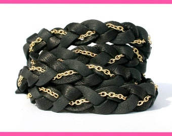 Leather Wrap Bracelet Deerskin Black Gold Chain, Fits all wrist sizes