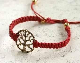 Tree of Life Friendship Bracelet Link On Cotton Cord