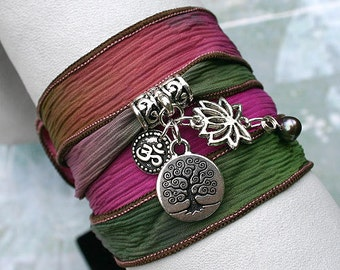Silk Ribbon Yoga Wrap Bracelet Brass Hand Dyed Secret Garden Tree of Life, Lotus, Ohm, Pearl Charms, Yoga Jewelry Free Shipping