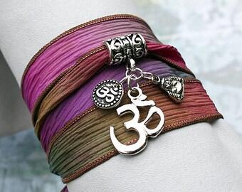 Silk Ribbon Wrap Bracelet Hand Dyed Secret Garden Ohm Om, Buddha Yoga Jewelry
