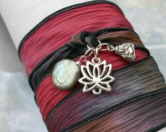Hand Dyed Silk Ribbon Wrap Bracelet Navajo Trail Silver Lotus Buddha Pearl Yoga Jewelry