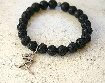 Friendship Lava Rock Stretch Energy Bracelet Chinese Symbol