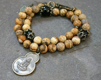 Picture Jasper Yoga Wrap Bracelet with Buddha Coin