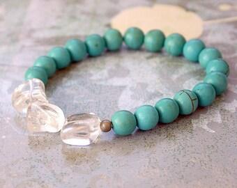 Meditation Yoga Bracelet Turquoise Magnesite and Crystal Quartz