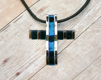 Leather Surfer Necklace With Modern Cobalt Titanium Stainless Steel Cross Distressed Cord
