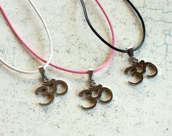 NAMASTE SALE Yoga Leather Necklace Ohm Om Pendant Stainless Steel