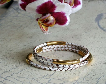 3 Bangles Leather Bangle Bracelets with Gold or Silver Tubes Braided Cord