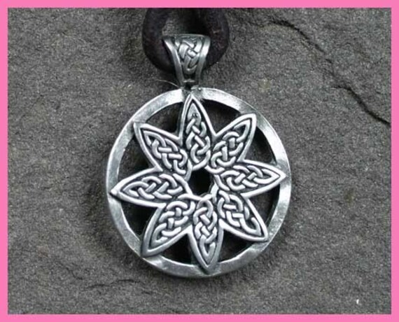 Leather Surfer Necklace with Celtic Knot Flowers Pendant