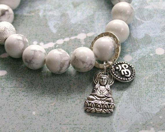Howlite Yoga Mala Bracelet Lakshmi Buddha and Aum Ohm Sign