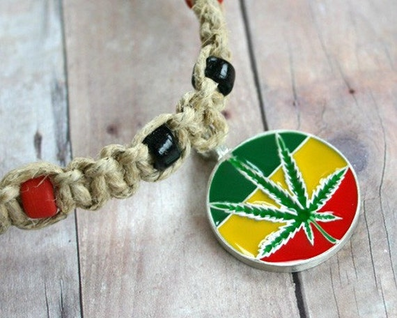 Hemp Rasta Necklace With Pewter Hemp Pendant