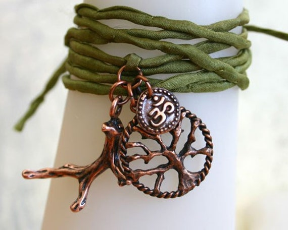 SALE Olive Green Silk String Wrap Bracelet With Tree Of Life Twig And Ohm Charms