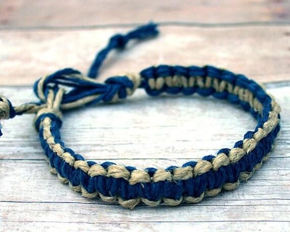 Surfer Macrame Hemp Bracelet Blue And Natural Natural Woven