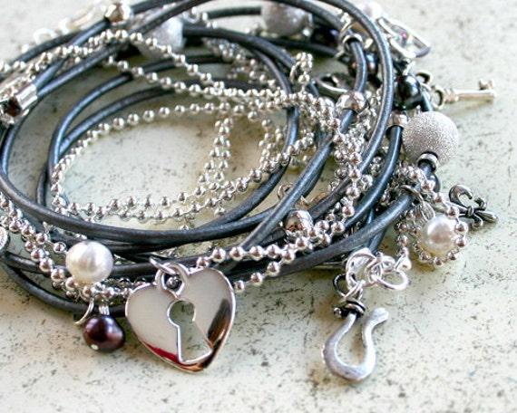 "Silver Leather and Chain ""Secrets"" Wrap Bracelet Locks and Keys"