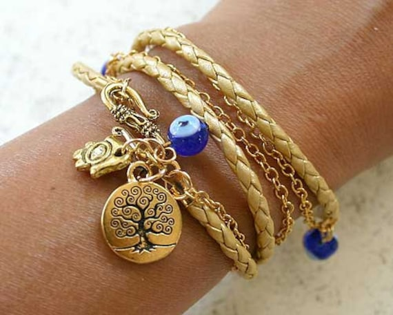 Evil Eye Protection Leather And Chain Bracelet With Tree Of Life And Hamsa