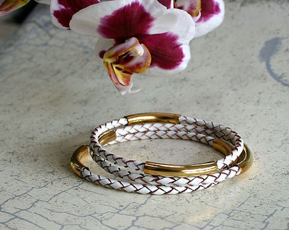 10 New Leather Bangle Bracelets with Gold or Silver Tubes Braided Cord 10 Bangles