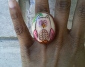 an owl portrait- A Dome-Shaped Polymer Clay Ring