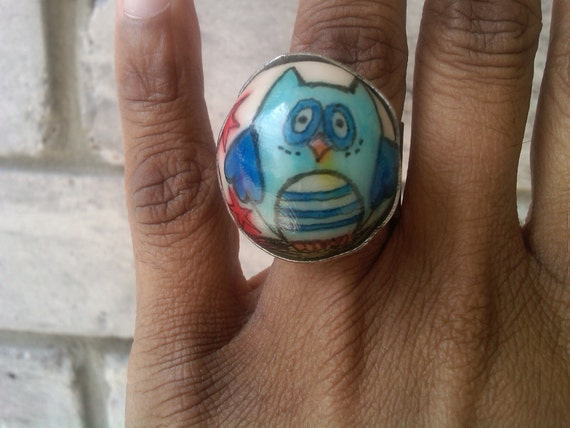 super star owl- A Dome-Shaped Polymer Clay Ring