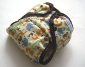 NEW, Ready to Ship One Size Safari PUL Printed Pocket Diaper with Organic Bamboo Velour Inner