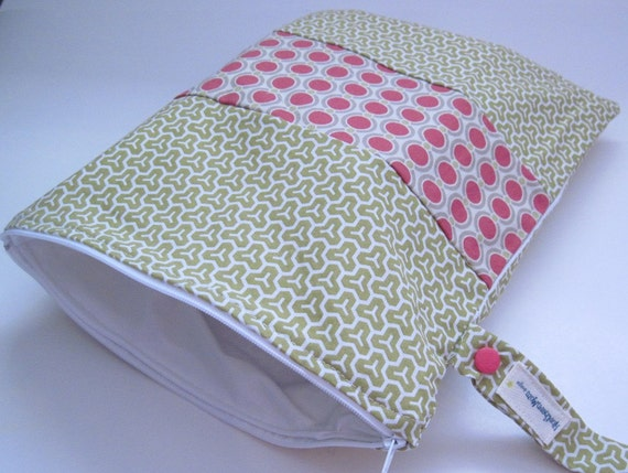 Ready to Ship, Multi-Purpose Zippered Wet Bag 11 x 12, Snap Handle, Joel Dewberry Honeycomb with Acorn Chain Embellishment