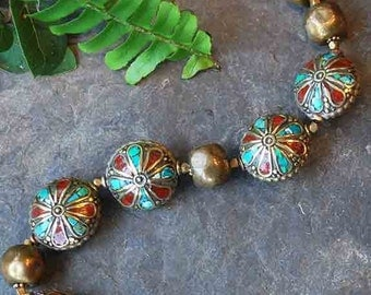 Ethnic Brass, Coral and Turquoise Necklace