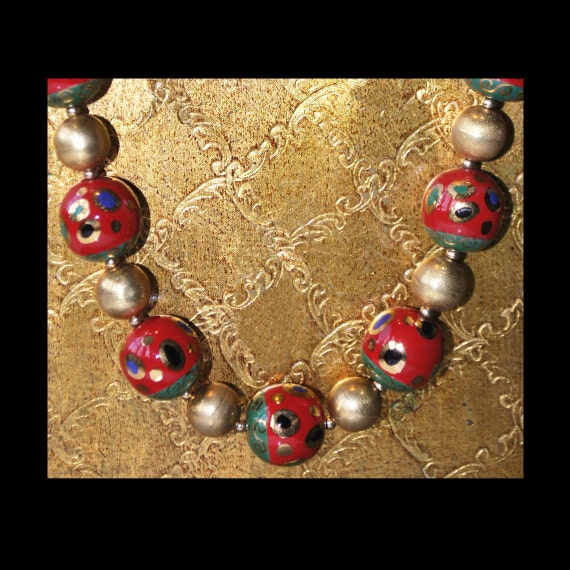 Festive Red Porcelain and Gold Vermeil Necklace