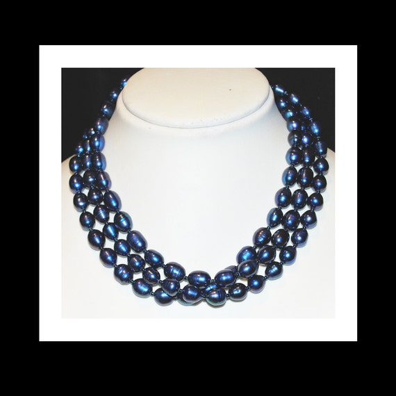 Midnight Blue Fresh Water Pearls, Multi Strand Necklace