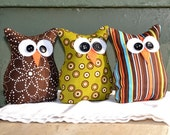Flowers, Dots and Stripes - Bean Bag Owl Trio