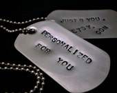 Customized Hand Stamped Dog Tag Necklace - Stainless Steel - HANDMADE by the KIDS