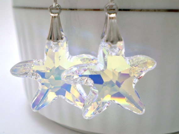 Starfish Crystal Earrings - AB Color on Sterling Silver
