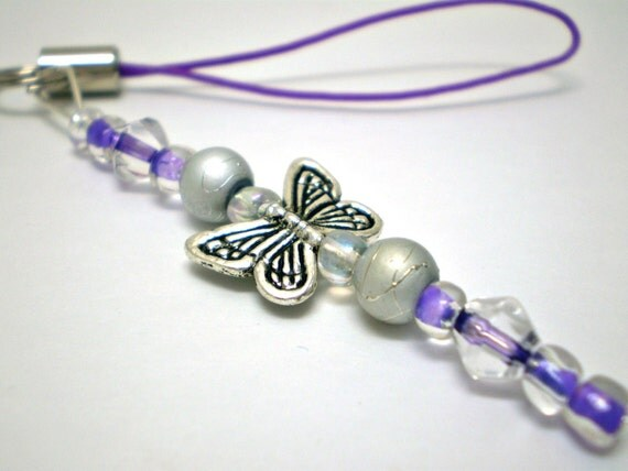 Butterfly Cell Charm or Zipper Pull in Purple/Silver