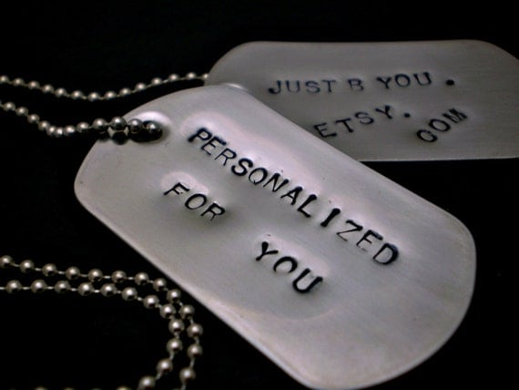 Handstamped Dog Tag Necklace - Stainless Steel - CUSTOMIZED for you HANDMADE by the KIDS