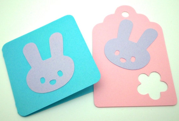 Spring Bunny Notecards & Tags, Blue, Lavender, Pink - set of 8 each