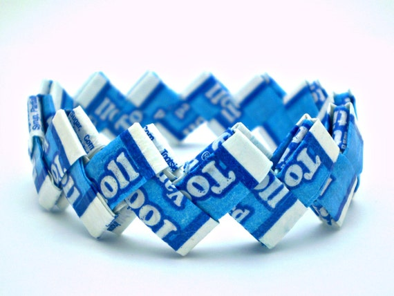 Vanilla Tootsie Roll Recycled Candy Wrapper Bracelet - Celebrate Earth Day Every Day