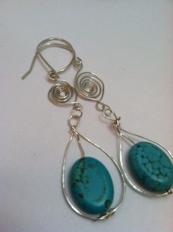 Flat Oval Turquoise and Sterling Silver Earrings - EST024