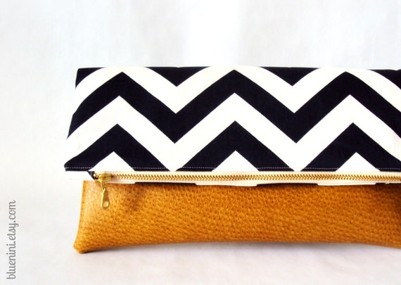 Hybrid Clutch - Fold Over Zippered Clutch - Navy Blue White Chevron with Vegan Leather