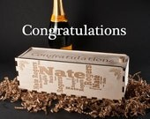 Wood WINE GIFT BOX,  Lasered personalization for CONGRATULATION events