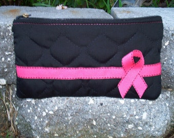 Breast Cancer Awareness Make-up Bag / Cosmetic Bag / PINK and Black / Pink Ribbon/ makeup Bag
