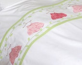 Applique kids bedding set for kids- Pretty in Pink-twin-duvet cover w/ pillow case