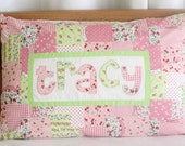 Patchwork Name Pillow Cover Personalized Girl Room Decor Birthday Gift Keepsake Custom Made Cottage Decor- Patchwork Girl