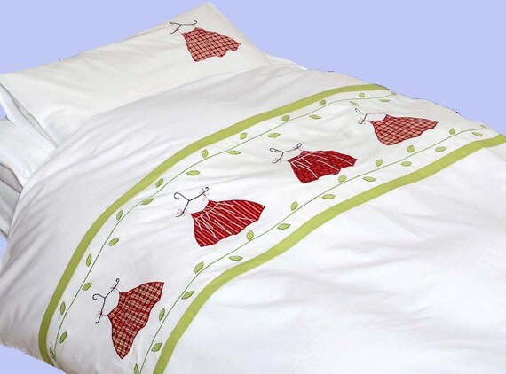 Applique kids bedding set for kids- Pretty in Red-twin-duvet cover w/ pillow case