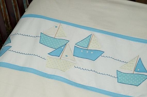 Applique bedding  for toddlers - I am sailing- duvet cover Beach Home Decor Sailing Boat Decor