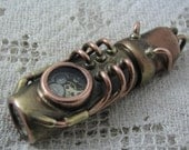 Steampunk USB flash drive with glowing glass windows. 16 GIG. Copper, brass, watch parts and glass. Waterproof.