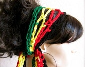 Rasta Colors Hand Crochet Gypsy Style Hair Band and Scarf